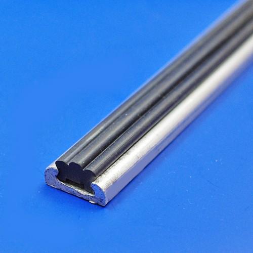16mm aluminium strip with rubber insert - 2 metre length aluminium and ribbed filler rubber