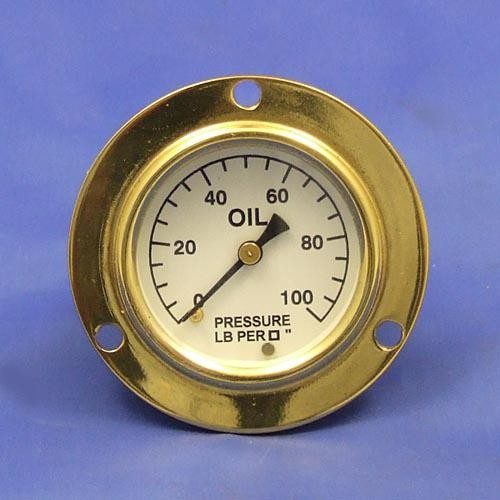 oil pressure gauge- calibrated 0-100lb/sq in. - black figures on white background