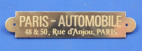 Paris- Automobile supplier plate