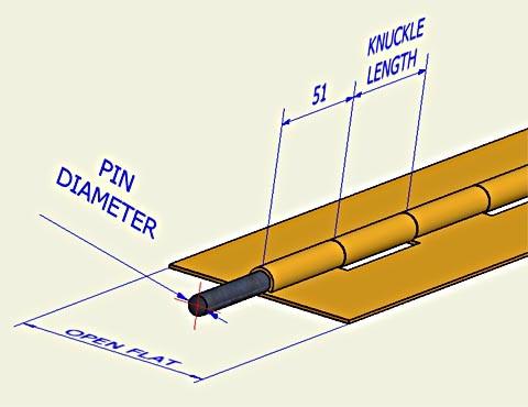 bonnet hinge - flat  - 6 feet length