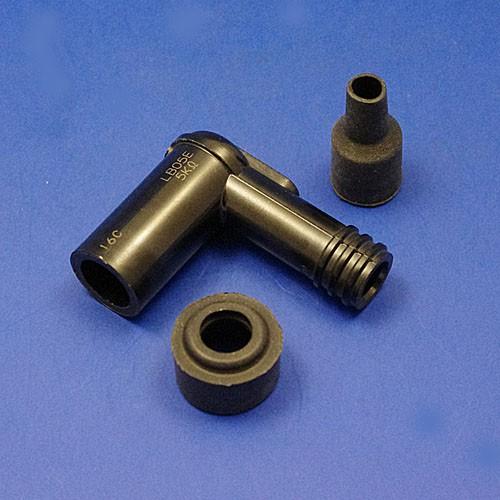 Angled spark plug cap terminals ignition