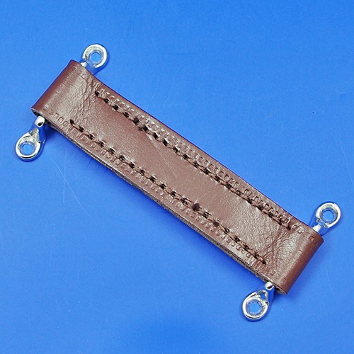 door check retainer strap  - brown 150mm long with chrome staples