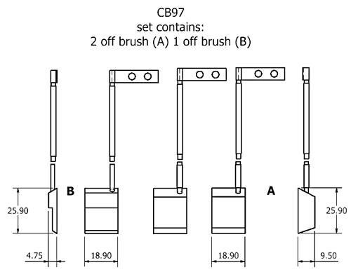 dynamo and starter brush sets - CB97 dynamo brush set