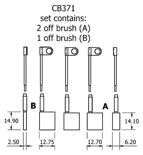 dynamo and starter brush sets - CB371 dynamo brush set