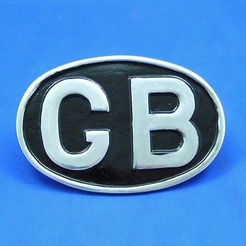 oval GB plaque - chrome plated