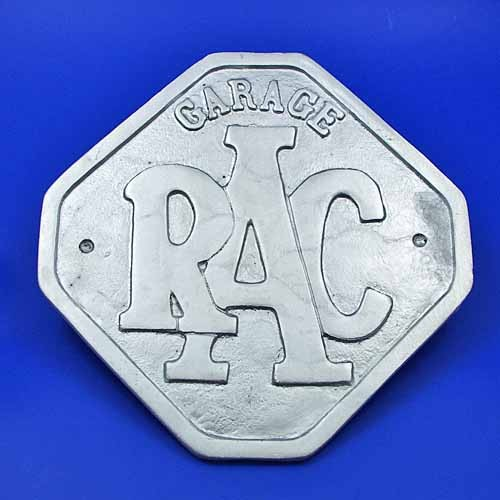 RAC garage aluminium sign
