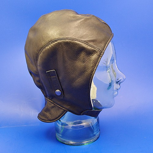 leather motoring helmet (with flap) - black leather, small