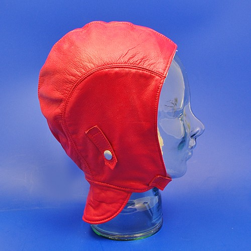 leather motoring helmet (with flap) - red leather, extra large