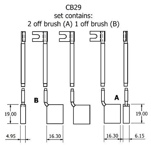 dynamo and starter brush sets - CB29 dynamo brush set