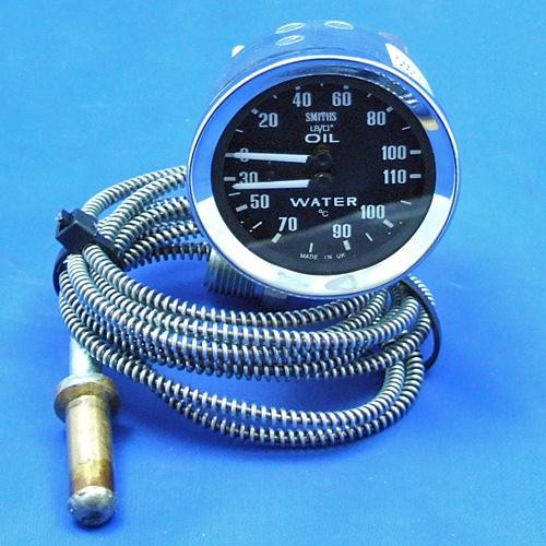 water temperature and oil pressure gauge