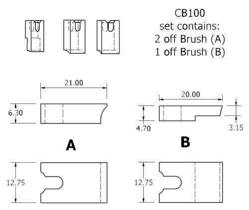 dynamo and starter brush sets - CB100 dynamo brush set