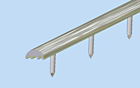 aluminium pin beading - 10mm wide