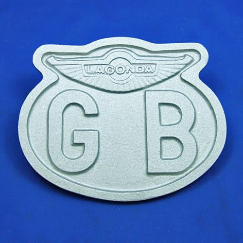 cast oval GB plate with Lagonda wings