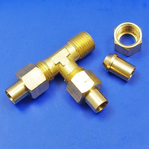 solder nut type tee piece - 1/4BSP for 5/16 pipe
