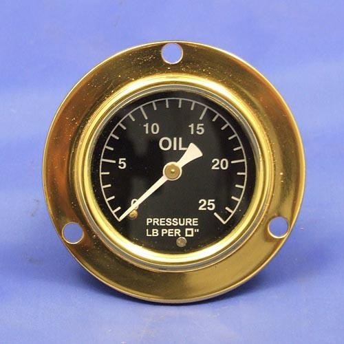 oil pressure gauge - calibrated 0-25lb/sq in - white figures on black background