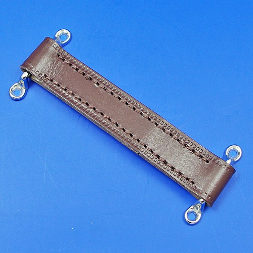 door check retainer strap  - brown 190mm long with chrome staples