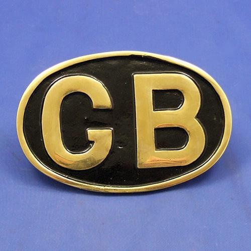oval GB plaque - polished brass