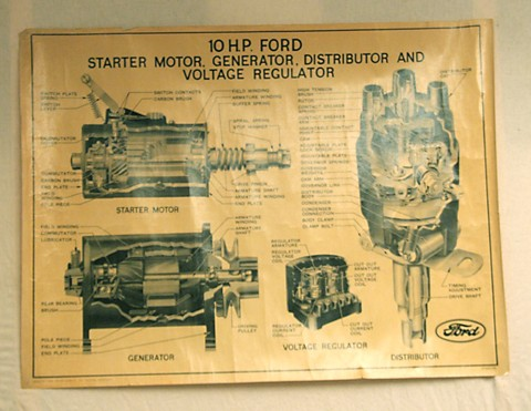 ford 10hp electrical starter and dynamo parts print