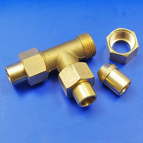 solder nut type tee piece - 3/8BSP for 3/8 pipe