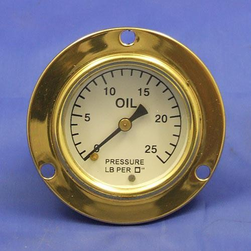 oil pressure gauge - calibrated 0-25lb/sq in - black figures on white background