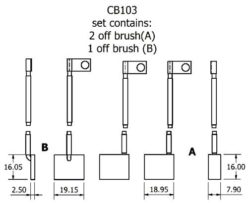 dynamo and starter brush sets - CB103 dynamo brush set
