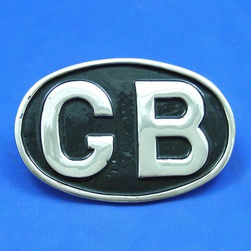 oval GB plaque - nickel plated