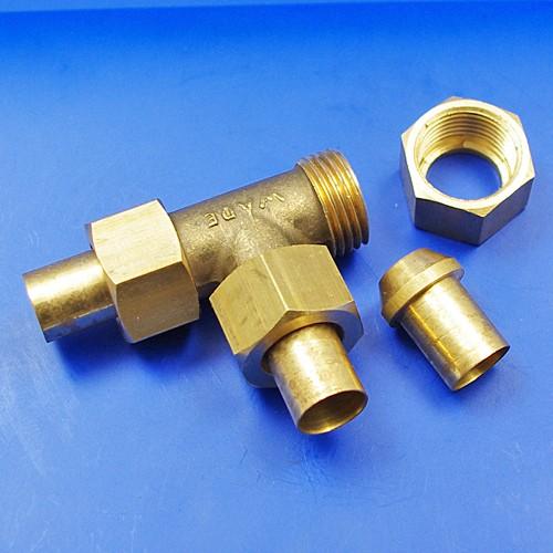 solder nut type tee piece - 1/2BSP for 1/2 pipe
