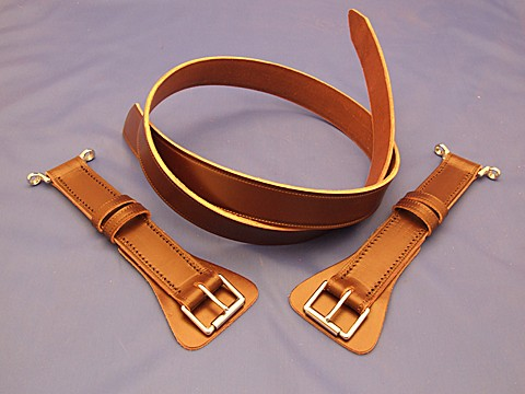 leather bonnet strap, side buckle