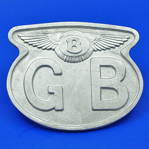cast GB plate with Bentley wings