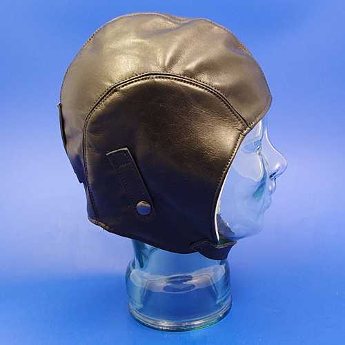 leather motoring helmet  (without flap) - black leather, small