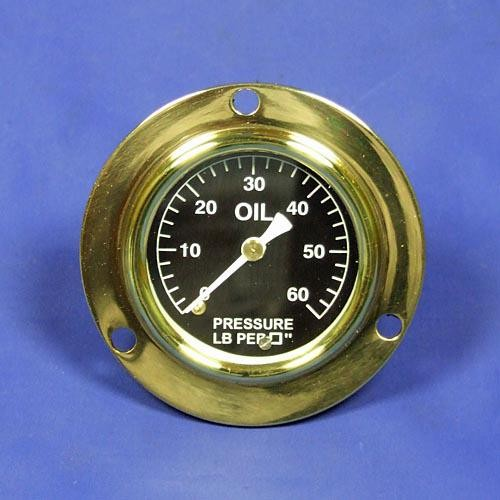 oil pressure gauge - calibrated 0-60lb/sq in. - white figures on black background