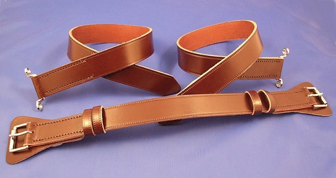 leather bonnet strap, top buckles