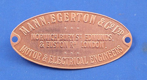 Mann Egerton & Co Ltd supplier plate