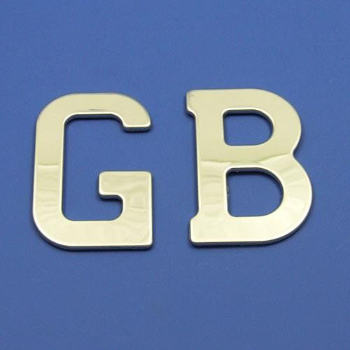 Ca1376 Self Adhesive Chrome Gb Letters Gb Amp Rear Plaque