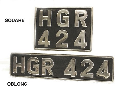 vehicle number plate - cast and polished