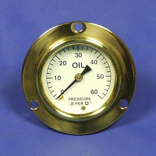 oil pressure gauge - calibrated 0-60lb/sq in. - black figures on white background