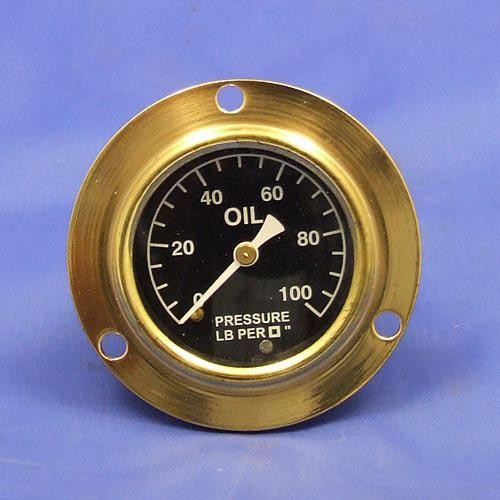 oil pressure gauge- calibrated 0-100lb/sq in. - white figures on black background