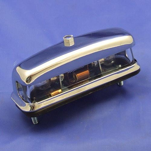 number plate lamp type L467 - chrome on brass cover