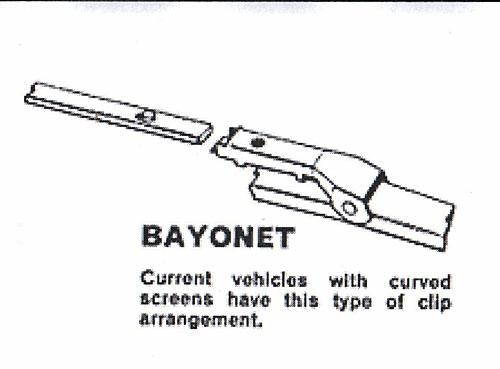 "CLASSIC WINDSHIELD WINDSCREEN WIPER BLADE 12/"" BAYONET FITTING 5~7mm"